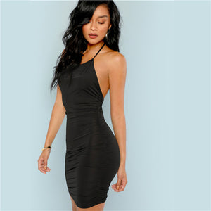 Black Backless Ruched Halter Mini Streetwear Bodycon Summer Solid Pencil Sleeveless Dress