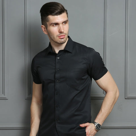 Men's Casual Dress Short Sleeved Shirt White Blue Pink Black Male Regular Fit Shirts