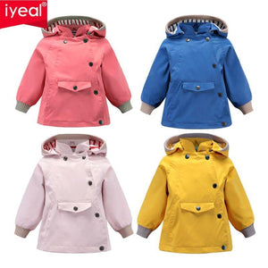 Boys Girls Waterproof Hooded With Pocket Cotton Lined Windbreaker Rain Children Kids Jackets - The Clothing Company Sydney