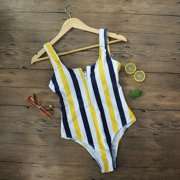 Striped One Piece Backless Monokini Swimsuit Sport Bodysuit Beach Bathing Suit Swimsuit