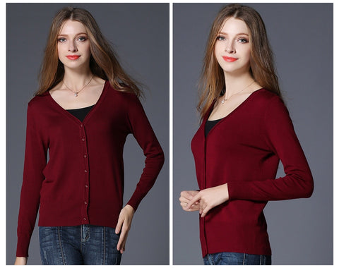 Spring Ladies Knitted Long Sleeve V-Neck Solid Loose Size Casual Woman Cardigan Sweater Top