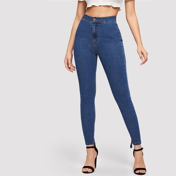 Blue Zip Fly Lace Up Crisscross Knot Skinny Spring Summer High Waist Jeans Stretchy Denim Ladies Trousers