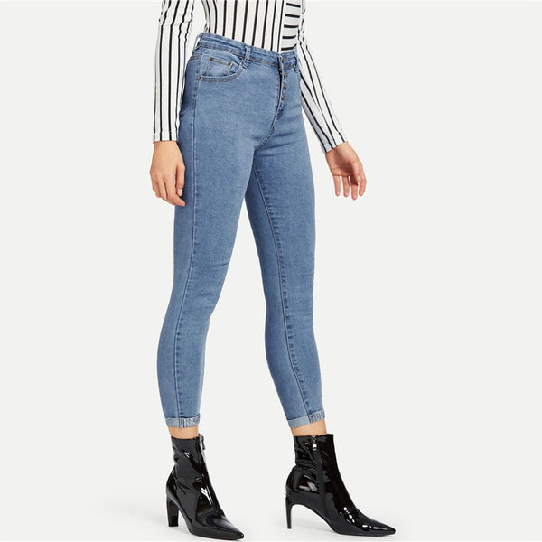 Blue Button Front Ankle Skinny Mid Waist Crop Pencil Jeans High Street Ladies Denim Pants
