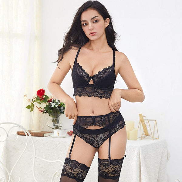 7 Piece Lace Thong Underwear Lingerie Set