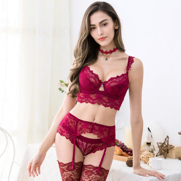 5 Piece Lingerie Lace push up bra sets bra, panties, garter, stockings and necklace set