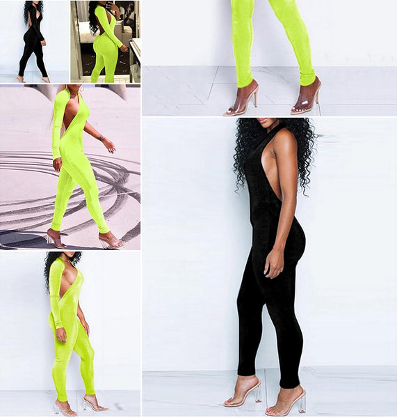 Fluorescent Green One Shoulder Jumpsuit Autumn Long Sleeve Backless Skinny Playsuit Casual Overalls