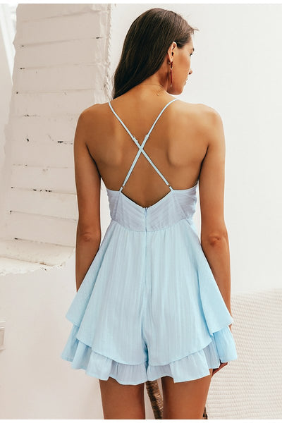V-neck Hollow out waist spaghetti strap ladies jumpsuit romper Summer beach wear playsuit