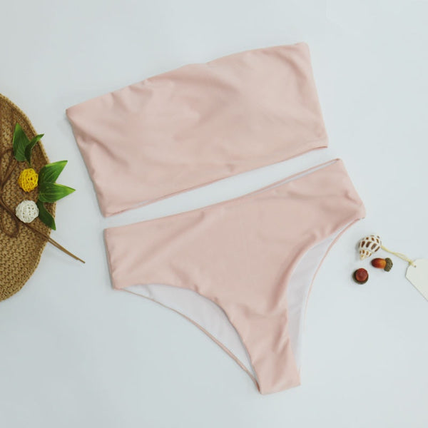 High Waist Bandeau Two piece swimsuit Bikini Set