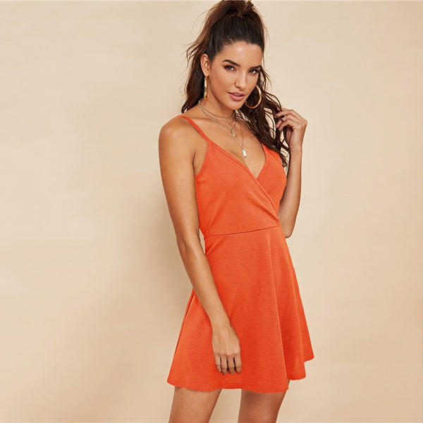 Party Backless Solid Wrap Sleeveless Natural Waist Cami Short Dress