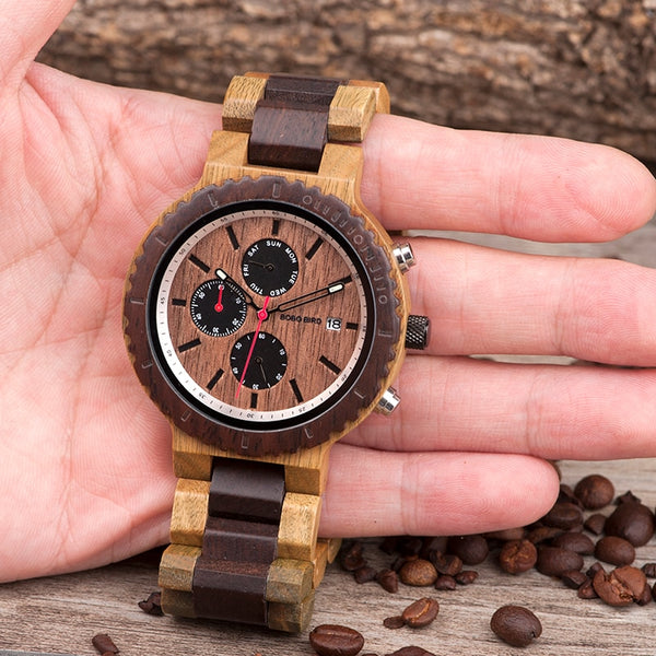 Men'sTop Luxury Brand Wooden Timepieces Chronograph Quartz Watches