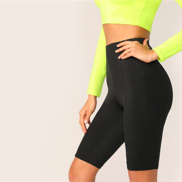 Black Solid High Waist Solid Cycling Athleisure Crop Fitness Short Summer Ladies Basics Workout Leggings