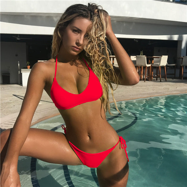 Solid Bandage Swimwear High Cut Bathing Suit Swimsuit Low Waist Halter Top Beachwear Micro Bikini Set