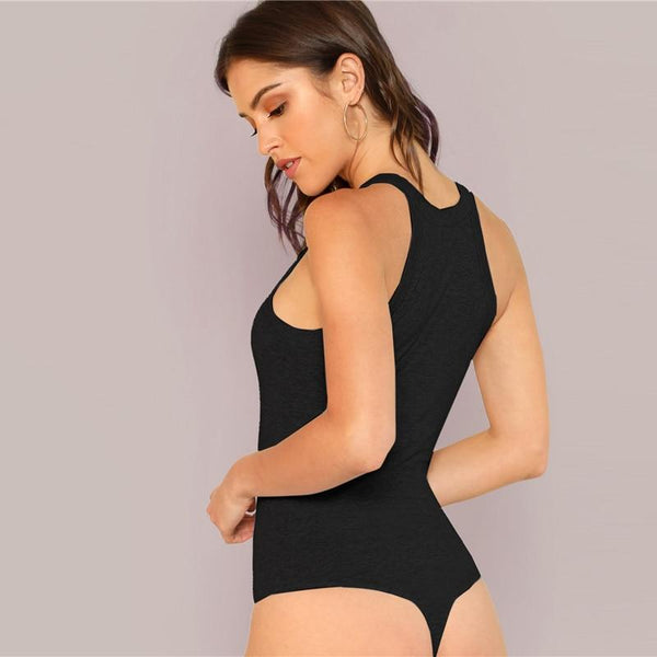 Black Solid Slim Fitted Halter Round Neck Skinny Summer Streetwear Bodysuit