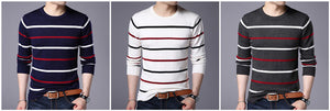 O-Neck Pullover Men Brand CAutumn Winter New Arrival Cashmere Wool Sweater Men Casual Striped Pullover
