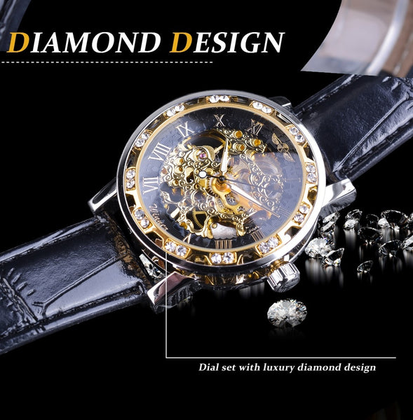Black Golden Retro Luminous Hands Fashion Diamond Display Mens Mechanical Skeleton Luxury Wrist Watch