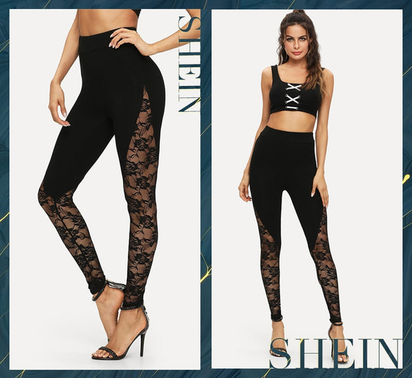 Black Elegant Sheer Floral Lace Insert Skinny Summer Leggings Going Out Trousers