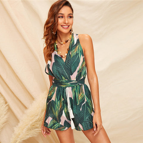 Boho Green Crisscross Tie Back Tassel Drawstring Tropical Summer Sleeveless Playsuit Beach Style Romper