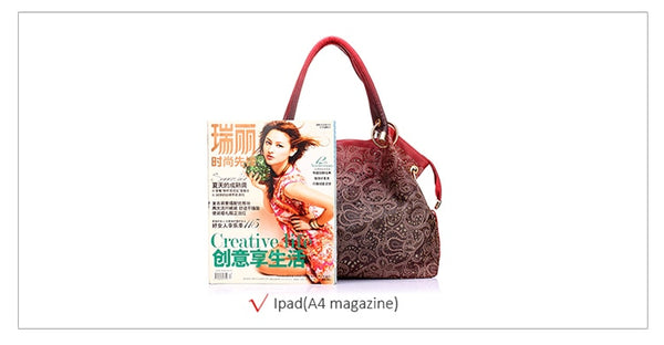 High Quality Hollow Out Ombre Floral Print Shoulder Ladies Pu Leather tote Handbag