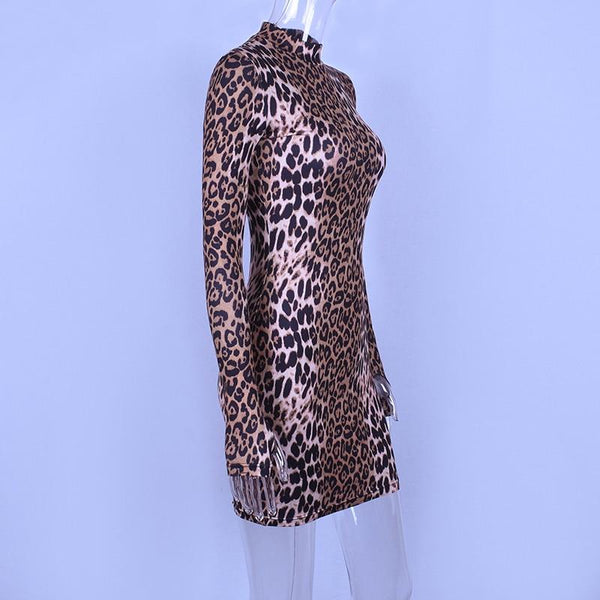 Long sleeve high neck leopard Tiger print sexy bodycon mini dress