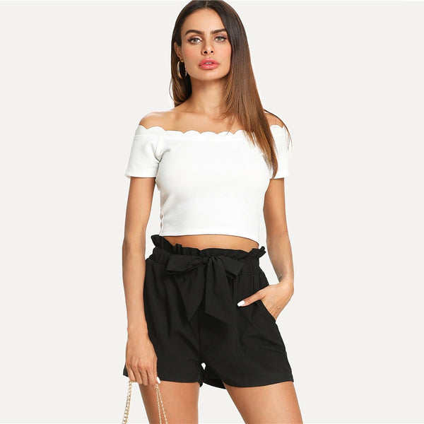 Self Belted Shorts Clubwear Fashion online shopping