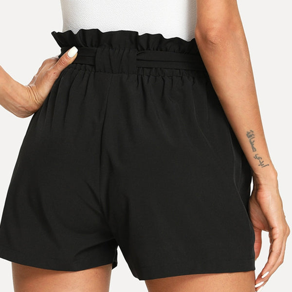 Self Belted Ruffle Casual Black Knot Basic Summer Mid Waist Frill Shorts