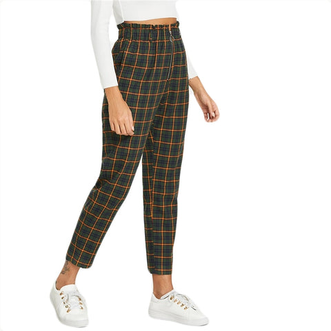 Green Office Lady Elegant Exposed Zip Fly Plaid Peg Mid Waist Carrot Minimalist Autumn Casual Trousers Pants