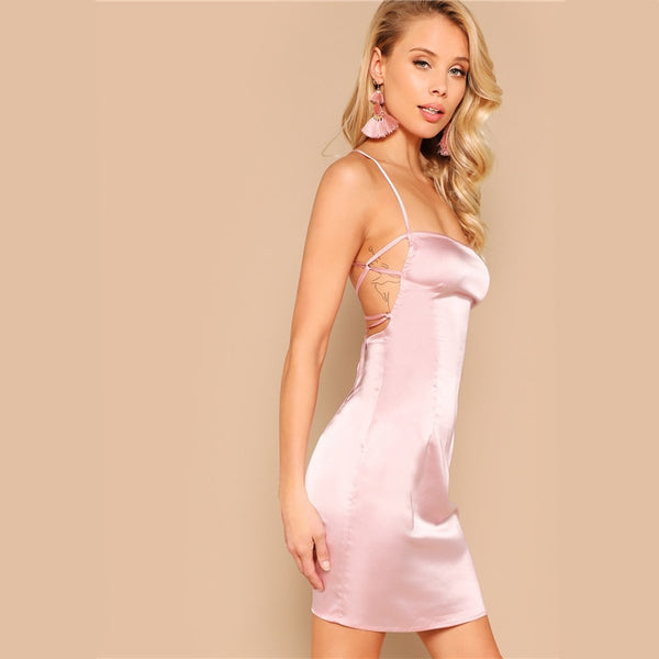 Pink Lace Up Backless Satin Bodycon Slim Summer Sleeveless Spaghetti Strap Club Short Dresses