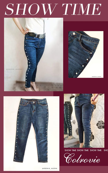Plus Size Blue Pearls Beads Casual Denim Autumn Vintage Pocket Skinny Jeans Stretchy Pants