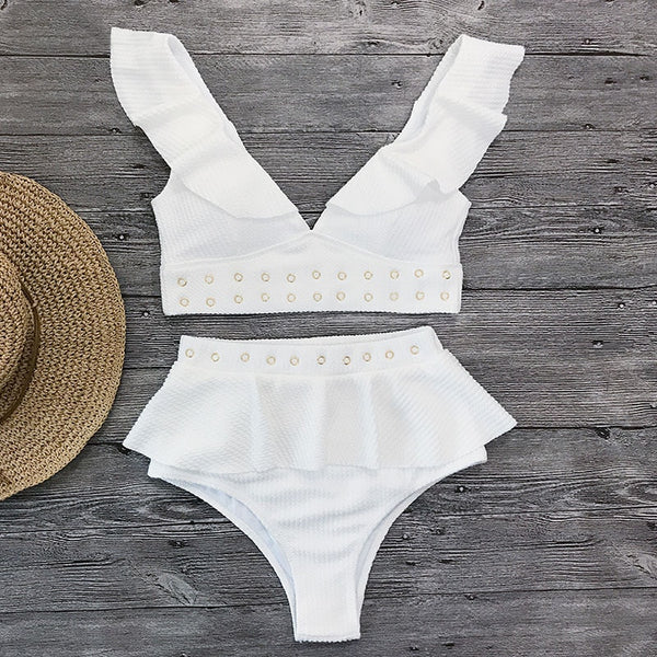 High Waist Ruffle Bikini Summer Beach Wear Swimwear