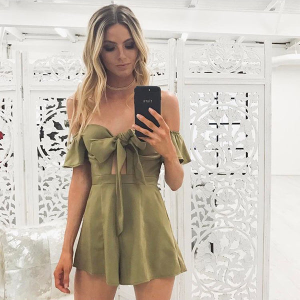 Off Shoulder Flare Sleeve Bow Tie Front Bustier Padded Casual Strapless Playsuit Rompers Jumpsuit