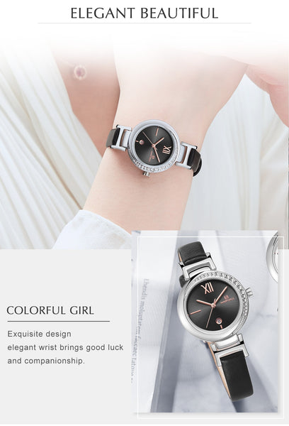 Ladies Quartz Wristwatch Leather Waterproof Watche