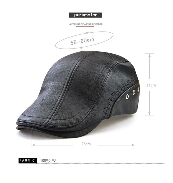 New Autumn Winter Unisex PU Leather Solid Beret News Boy Ivy Flat Cap Hat