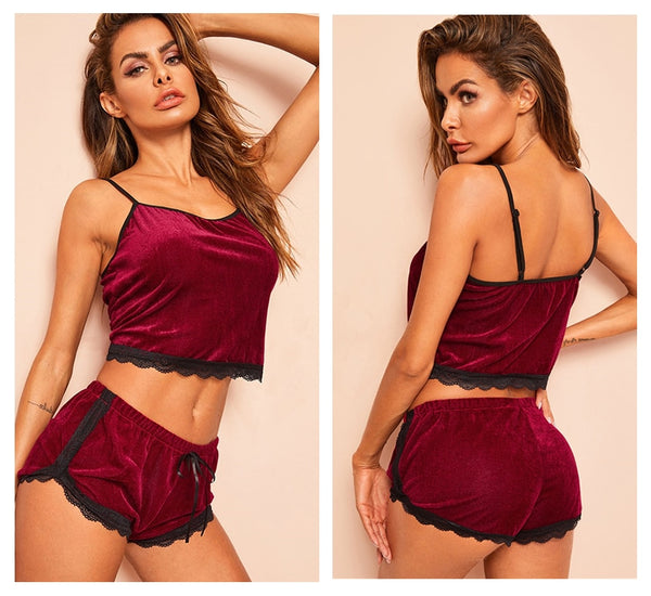 Burgundy Lace Trim Velvet Cami And Lace Shorts Sleeveless Pyjama Set Sleepwear Nightwear