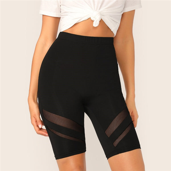 Black Mesh Insert Solid Biker Cycling Crop Fitness Short Leggings