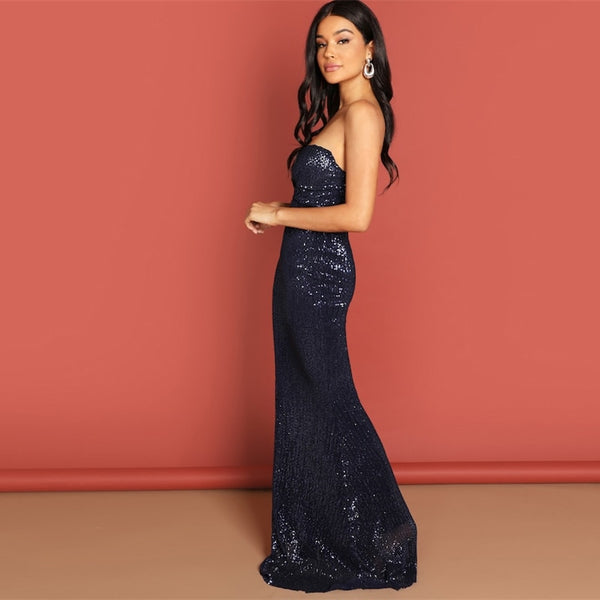 Navy Strapless Mesh Sequin Party Bodycon Evening Gown High Waist Zipper Night Out Slim Maxi Dress