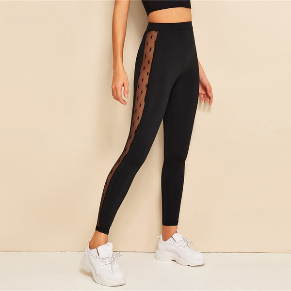SHEIN Contrast Mesh Insert Leggings Sexy Women Leggings 2019 New Fashion Fitness Black Solid Womens Clothing Long Leggings