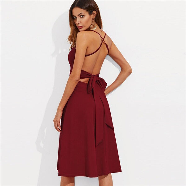 Crisscross Tie Back Cami Flare Sleeveless Solid High Waist Midi Dress