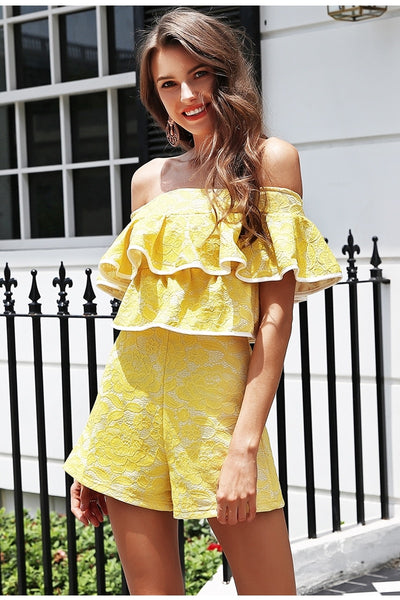Ruffled off shoulder party club Casual streetwear Romper Playsuit