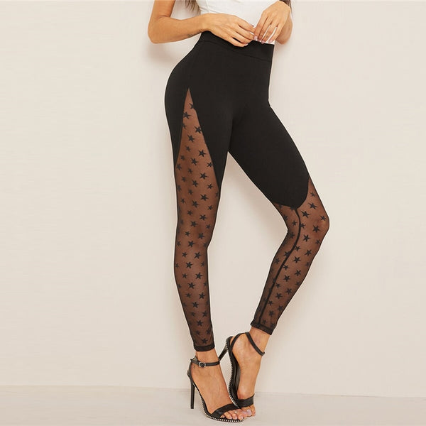 Wide Waistband Star Mesh Panel Black Contrast Mesh Sheer Spring Summer Galaxy Pattern Sexy Women Leggings