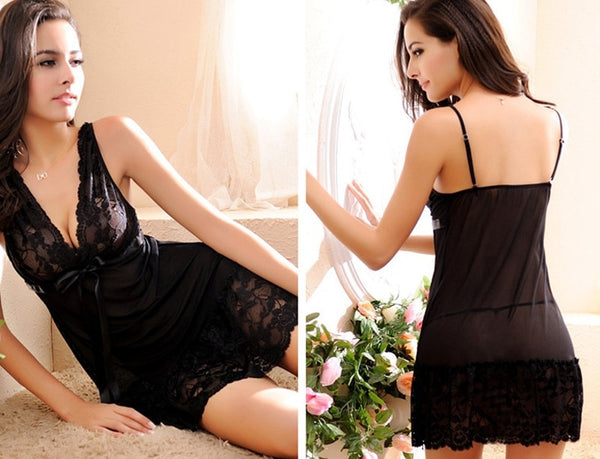 Plus Size Lace Nightgown Sleepwear Dress & G-String Lingerie Nightwear Slip