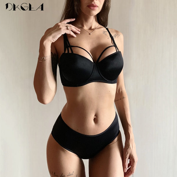 Cotton Brassiere 3/4 Cup Push up Bra Lingerie Lace Bras Deep V Gather Panties Brief Underwear Set