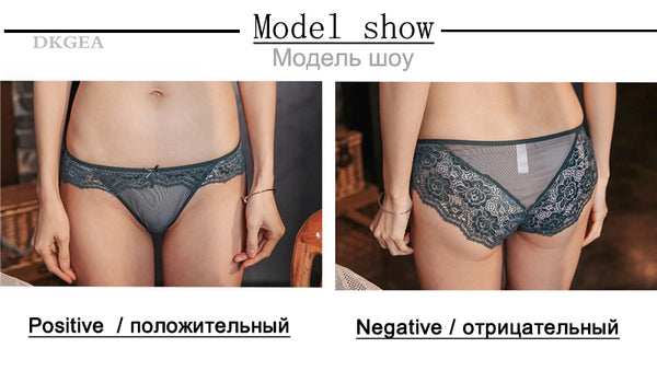 3 Piece Low-rise White+Green+Red wine Underwear Lace Transparent Briefs Hollow Out Embroidery Panty