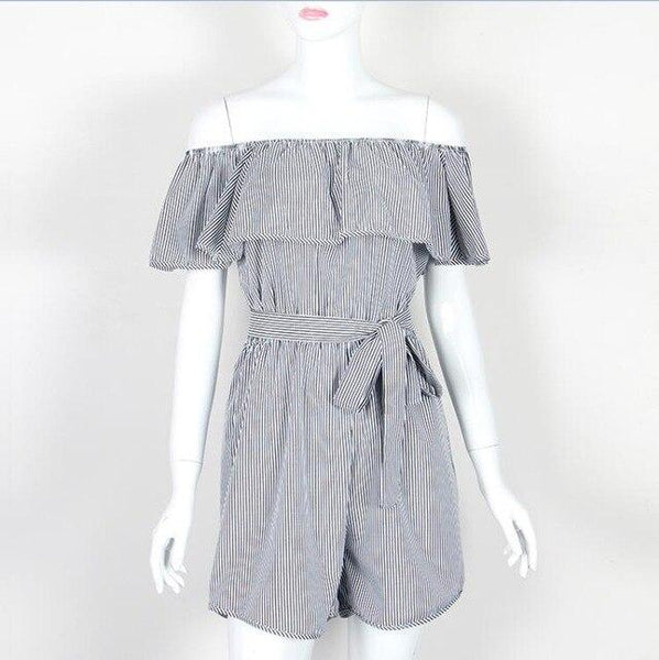 Ruffles Slash Neck Striped Casual Playsuit  Romper Overalls with Belt