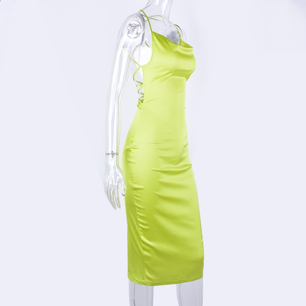Neon satin lace up bodycon sleeveless backless elegant  long midi dress