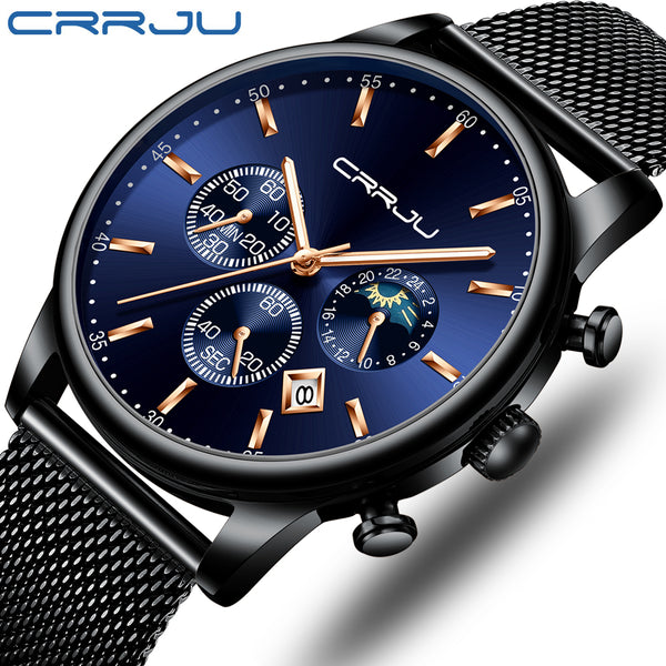 Luxury Quartz Blue Dial Watches Sport Watches Chronograph  Mesh Belt Wrist Watch