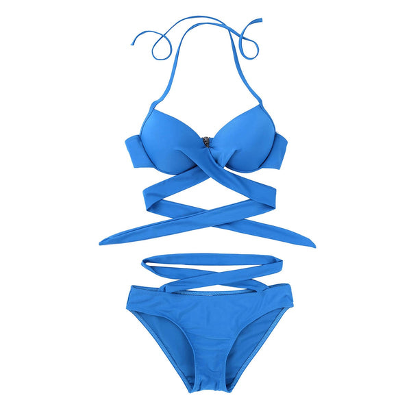 Two piece Halter Neck Criss Cross Waist Push up Padded Underwired Bra Top with Wrapped Bikini Swimsuit Swimwear