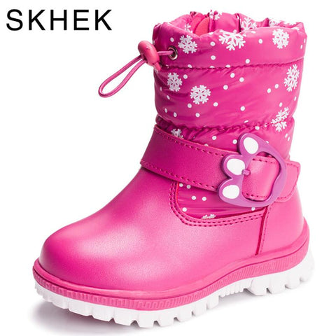 Kid's Skiing Winter Boots For Girls Boys wool styles Boots waterproof Sport shoes fur lining Boots