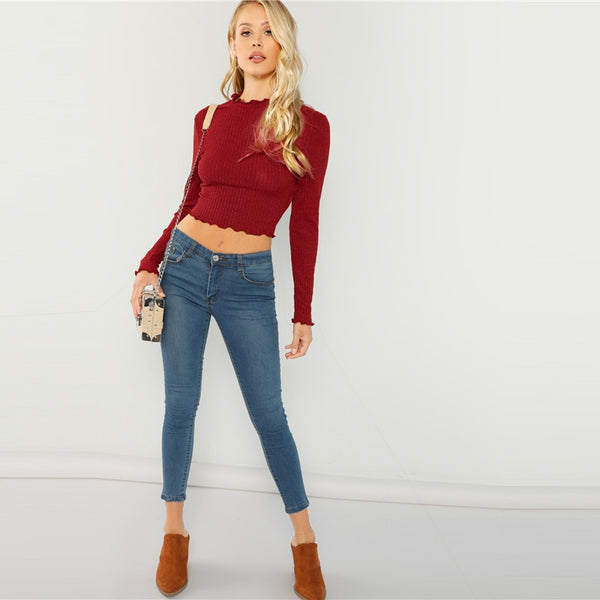 Solid Lettuce Trim Solid Sexy Knit Crop Long Sleeve Elegant Pullover Jumper Crop Top