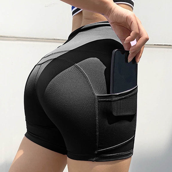 High Waist Patchwork Solid Pocket Fitness Push Up Workout Shorts