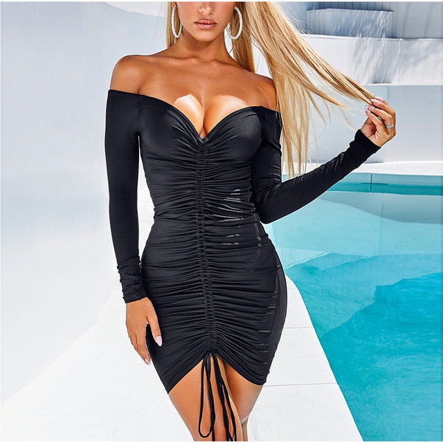 2 Layered Off Shoulder Drawstring Bodycon Party Night Club Dress